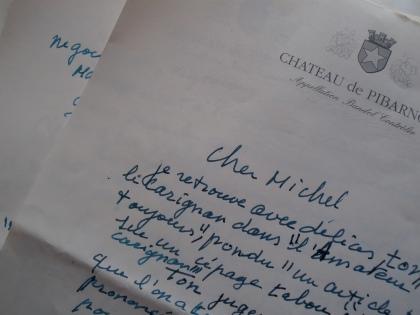 """Une lettre """"témoignage"""" d'Henri sur le Carignan. Photo©MichelSmith"""