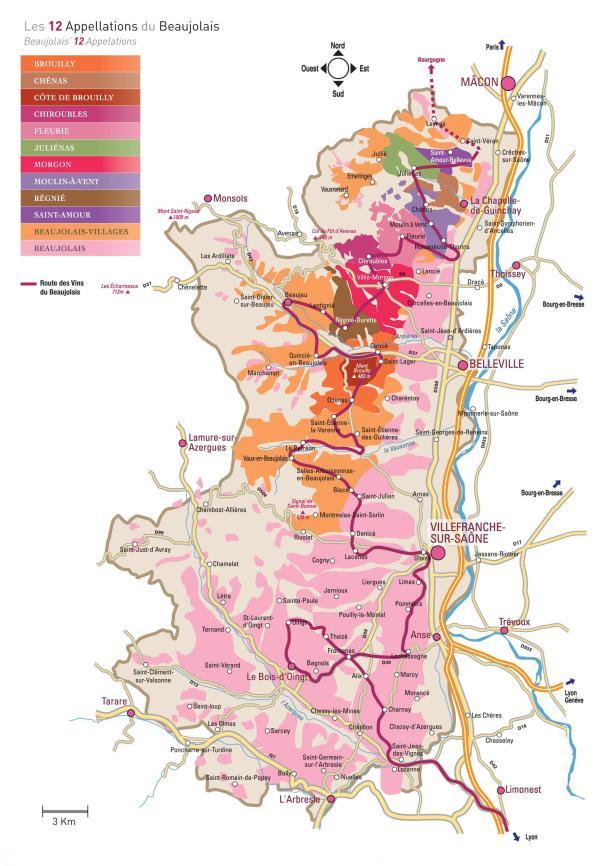 Carte route des vins du Beaujolais