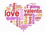 Nuage de mots amour en forme de coeur
