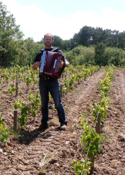 Thierry Michon à l'accordéon dans ses vignes de Brem. Photo©MichelSmith