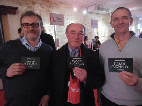 Georges Truc et les deux présidents du Massif d'Uchaux. Photo©MichelSmith