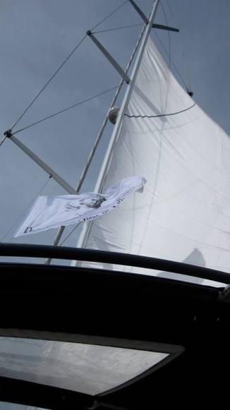 Le bateau d'Alain, toutes voiles dehors. Photo©MichelSmith