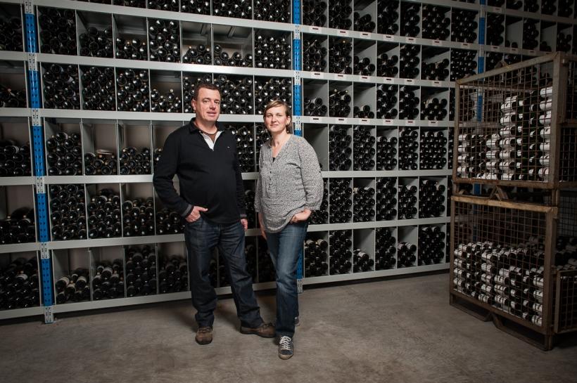 Stockage de bouteilles du domaine Dirler-Cade à Bergholtz.