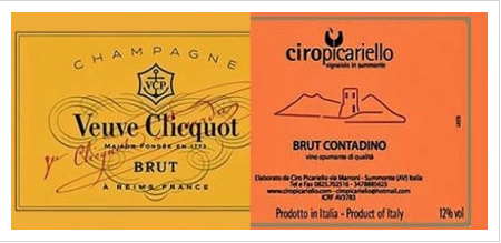 Ciro (right hand label) is not made by Veuve Clicquot instead by a small producer in Campania. Ciro received legal letters from Veuve Clicquot alleging that their label could be confused with Veuve Clicquot.  Moral of the story: Ciro should have called their sparkling wine Prosecco and presumably VC wouldn't have said anything.