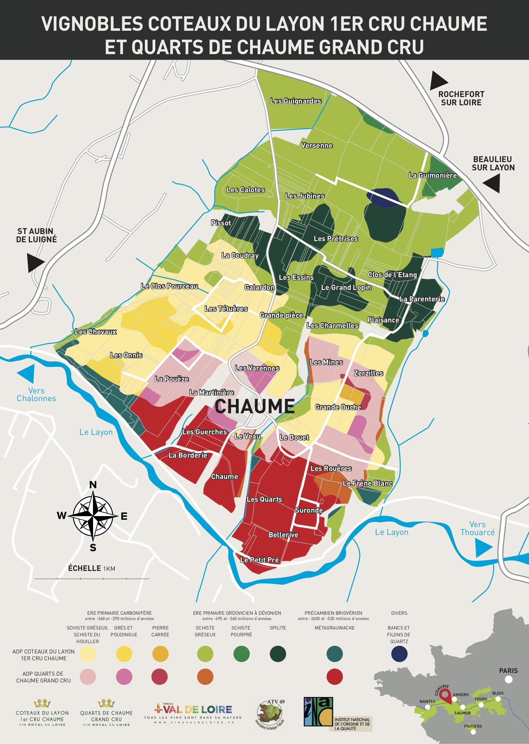 Cartographie Chaume et Quarts-de-Chaume avec géols