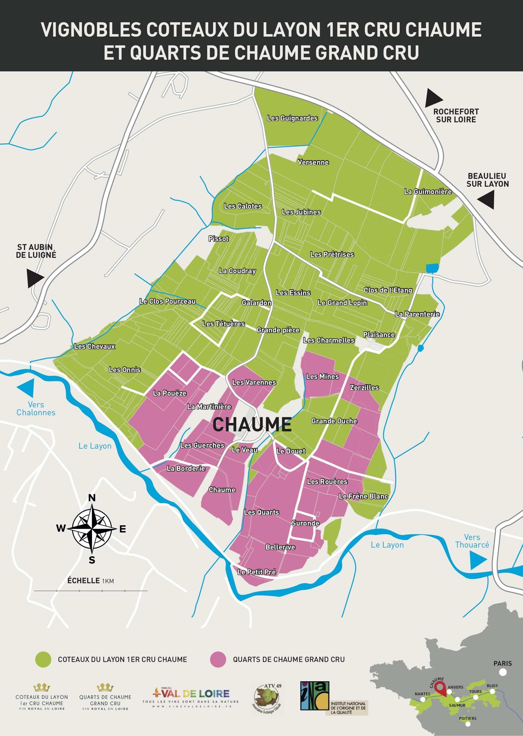 Cartographie Chaume et Quarts-de-Chaume sans géols